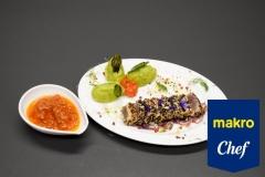 Bife de Atum com Batata Migada e Manjericão